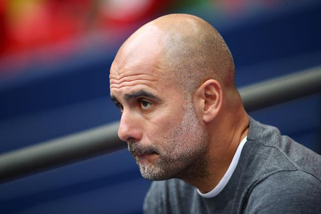 Pep Guardiola, Manager of Manchester City looks on prior to the FA Cup Final match between Manchester City and Watford at Wembley Stadium on May 18