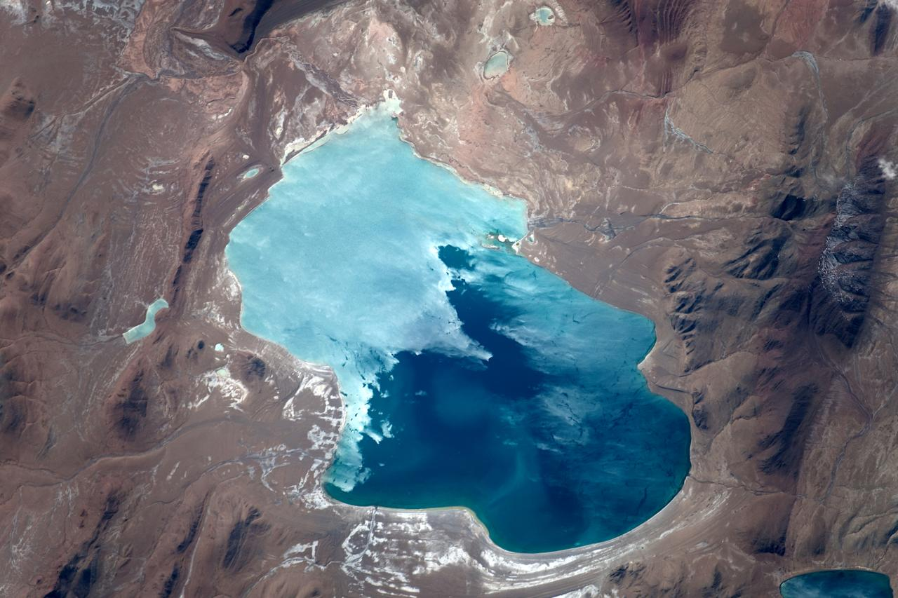 Cirque du Soleil founder Guy Laliberté had the amazing experience of traveling in space as a private explorer. He orbited the earth for 11 days and took these phenomenal photos including this image of Lake Duli Shihu in Tibet.  Check out the slideshow to see more!  (Photo: Guy Laliberté)