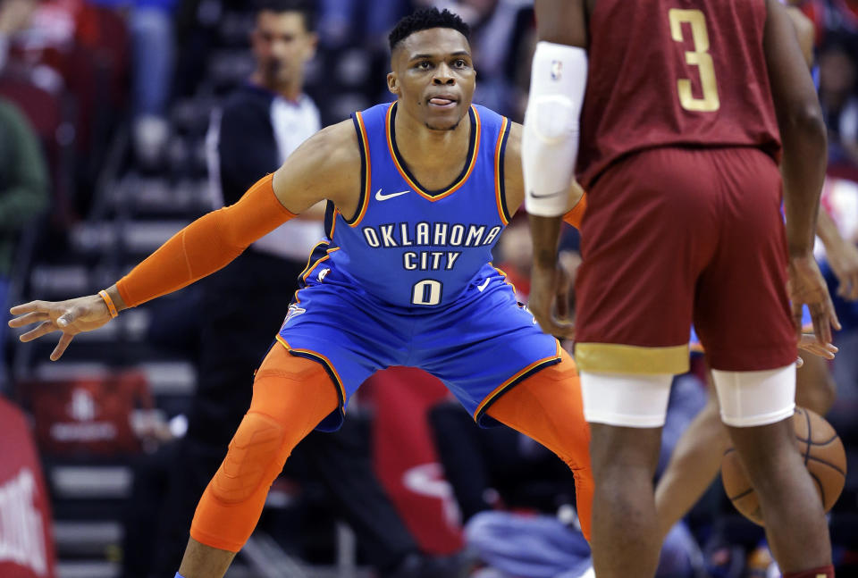 Thunder point guard Russell Westbrook will have a chance to set the record for most consecutive triple-doubles on Monday against the Trail Blazers. (AP Photo/Eric Christian Smith)