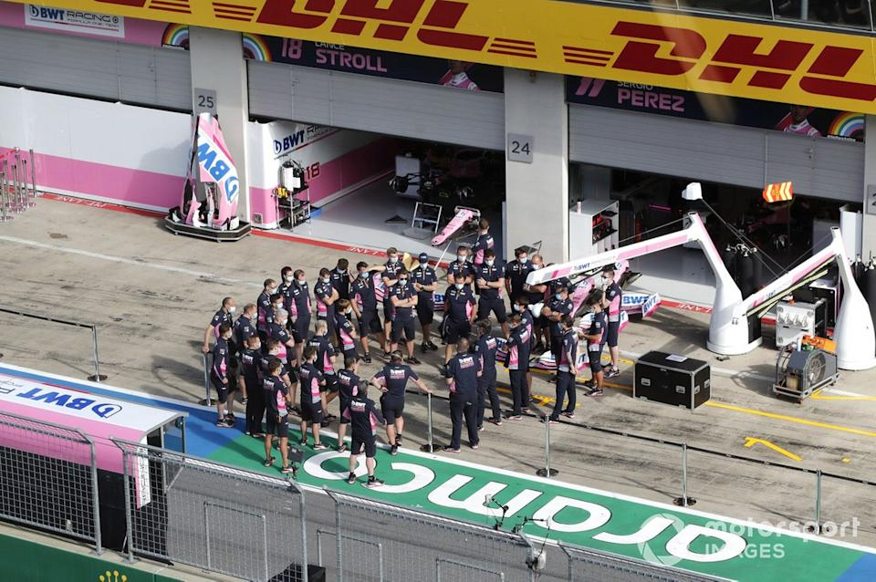 "The Racing Point Team outside the garage<span class=""copyright"">Steven Tee / Motorsport Images</span>"