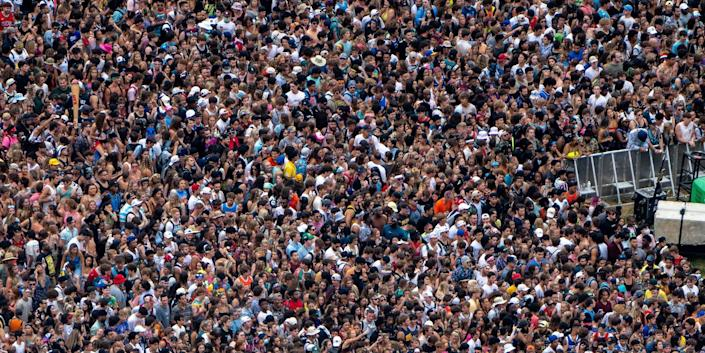 An aerial photo of the crowd at Lollapalooza 2021