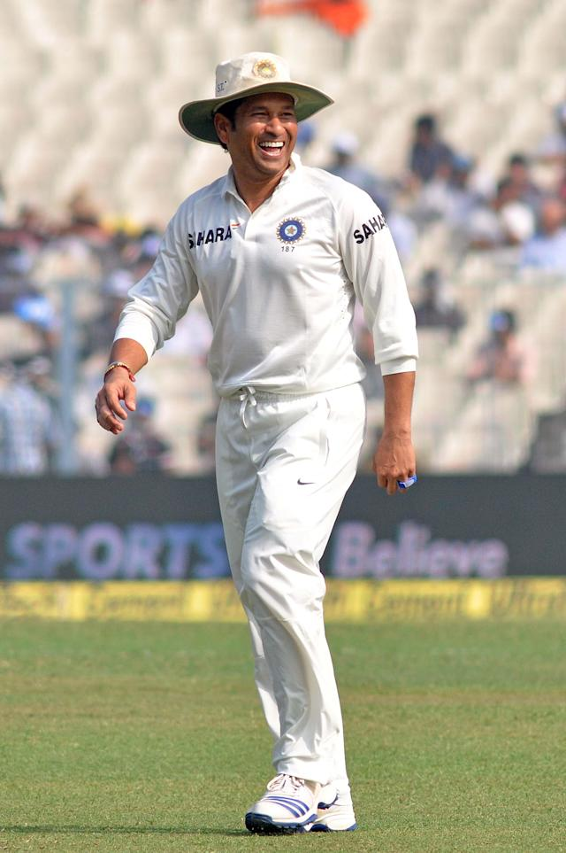 Indian cricketer Sachin Tendulkar during the 1st day of the 1st test match between India and West Indies at Eden Gardens, Kolkata on Nov. 6, 2013. (Photo: IANS)