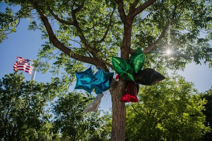 Balloons hang from a tree as a makeshift memorial for the late Robert Fuller, with the US flag in the background at Palmdale City Hall (AFP Photo/ARIANA DREHSLER)