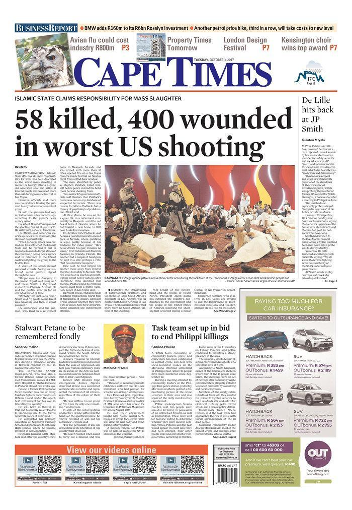 """<p>""""Cape Times,"""" published in Cape Town, South Africa. (newseum.org) </p>"""