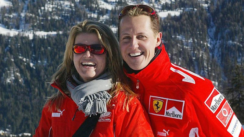 Michael Schumacher and wife Corinna pictured together in 2005. Pic: Getty