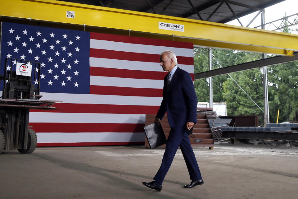 Democratic presidential candidate former Vice President Joe Biden walks from the podium after speaking at McGregor Industries in Dunmore, Pa., Thursday, July 9, 2020. (AP Photo/Matt Slocum)