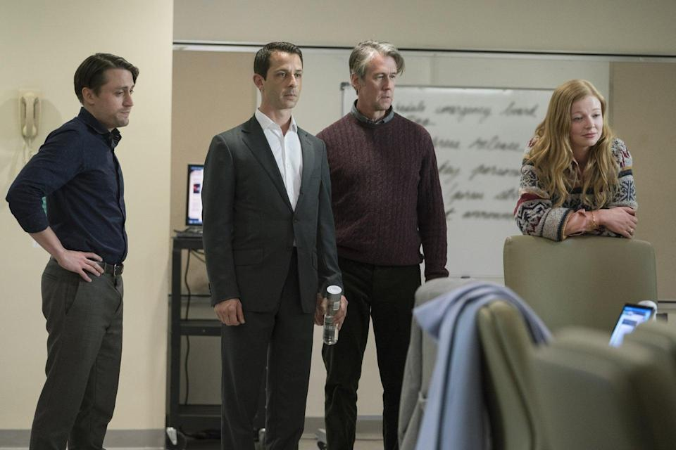 Sibling rivals: Roman (Kieran Culkin), Kendall (Jeremy Strong), Connor (Alan Ruck) and Shiv (Sarah Snook) in 'Succession' (HBO)
