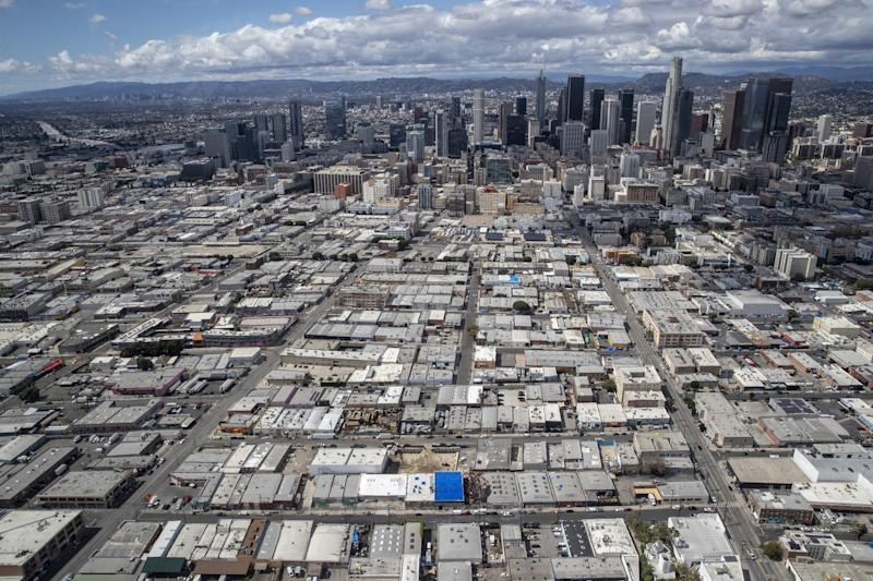 Aerial view of the fashion district near downtown Los Angeles