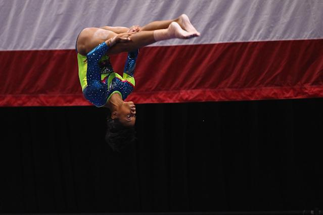 ST. LOUIS, MO - JUNE 10: Gabrielle Douglas competes on the beam during the Senior Women's competition on day four of the Visa Championships at Chaifetz Arena on June 10, 2012 in St. Louis, Missouri. (Photo by Dilip Vishwanat/Getty Images)