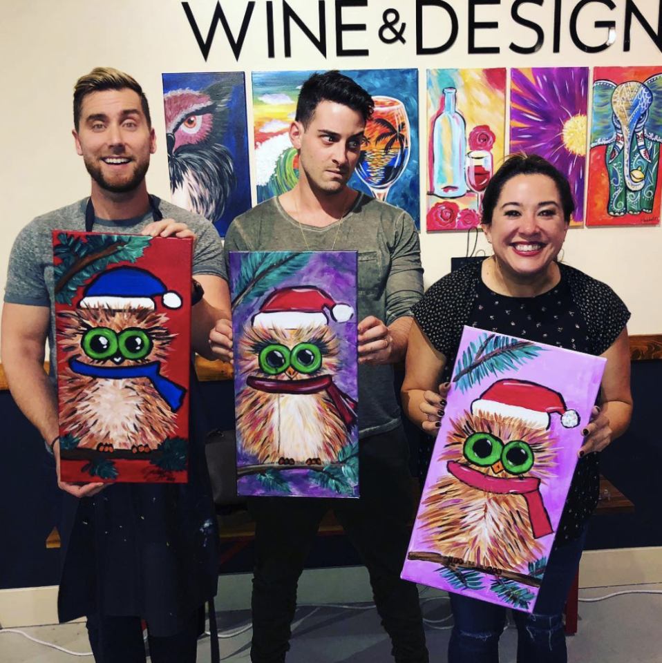 "<p>""Lisa's surprise Christmas gift was drinking wine as we painted a Christmas owl! Soooo fun!,"" the singer captioned this shot of his masterpiece, along with his husband, Michael Turchin, and a pal. ""I really like my color palette. What do you think?"" he asked followers. Well, we like it, Lance, but we think Michael looks like he maybe would have preferred a different surprise present. (Photo: <a rel=""nofollow"" href=""https://www.instagram.com/p/BcZFRiQlliS/?taken-by=lancebass"">Lance Bass via Instagram</a>) </p>"