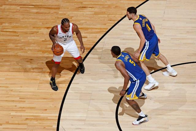 The Warriors often sent two defenders Kawhi Leonard's way in Game 1. (Getty Images)