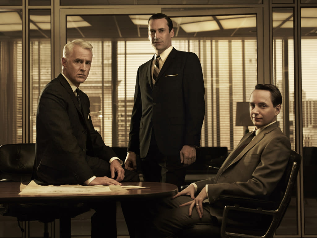 "John Slattery as Roger Sterling, Jon Hamm as Don Draper, and Vincent Kartheiser as Pete Campbell in ""<a target=""_blank"" href=""http://tv.yahoo.com/mad-men/show/39828"">Mad Men</a>."""