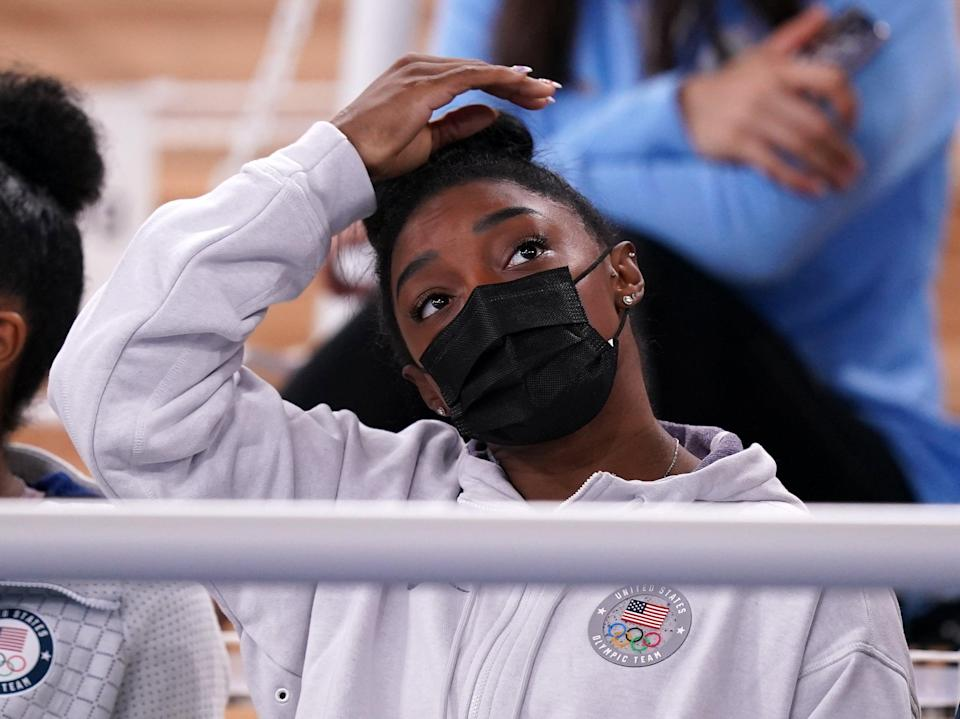Simone Biles watched the all-around final from the stands (Mike Egerton/PA) (PA Wire)