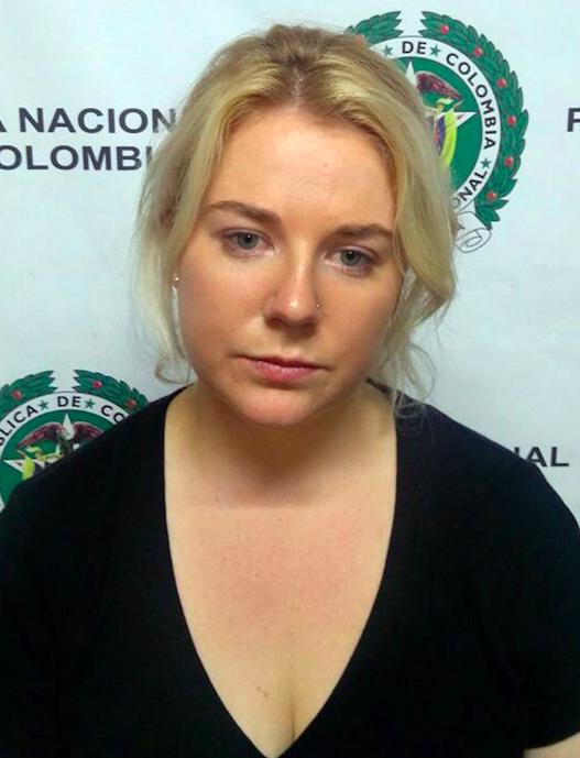 Ms Sainsbury during her detention at the International Airport the Dorado, in Bogota, Colombia, on 11 April 2017. Photo: AAP