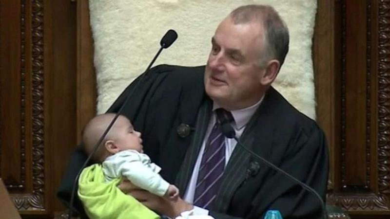 New Zealand parliament speaker cradles and feeds lawmaker's baby during debate