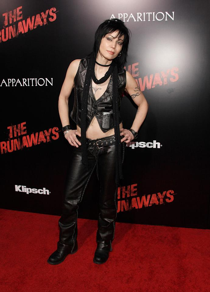 "<a href=""http://movies.yahoo.com/movie/contributor/1800060086"">Joan Jett</a> at the Los Angeles premiere of <a href=""http://movies.yahoo.com/movie/1810129048/info"">The Runaways</a> - 03/11/2010"