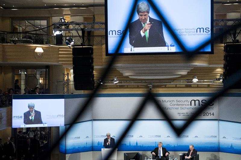 US Secretary of State John Kerry is seen on a video screen as he speaks during the Munich Security Conference at the Bayerischer Hof Hotel Saturday, Feb. 1, 2014 in Munich, southern Germany. The annual meeting was set to deal with thorny international issues, from the Syrian war and Ukraine's turmoil to Iran's nuclear program and US online surveillance. (AP Photo/Brendan Smialowski ,Pool)