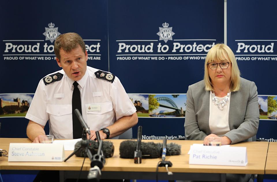 Northumbria Police Chief Constable Steve Ashman and Pat Ritchie, chief executive of Newcastle City Council, during a press conference in Newcastle. (PA)