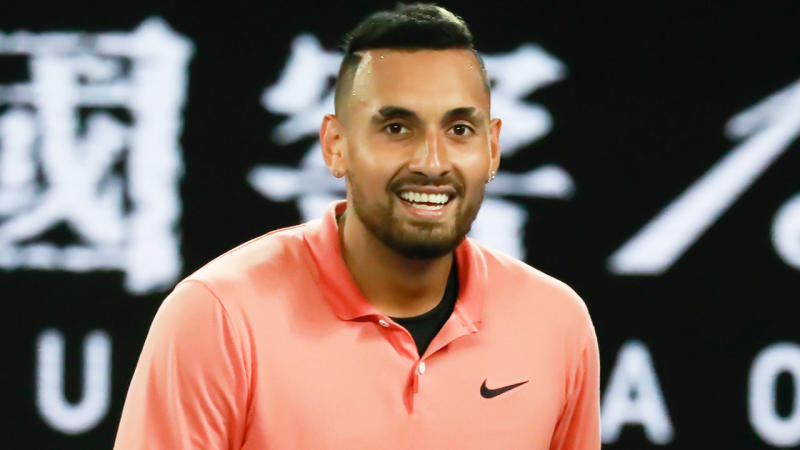 Nick Kyrgios smiling during his match against Rafael Nadal at the Australian Open.