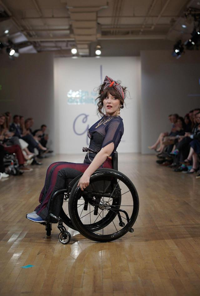 Model Jessy Yates at the Cerebral Palsy Foundation Design for Disability show. (Photo: Richard Copier)
