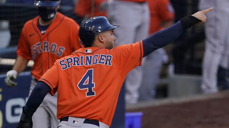 Mandatory Credit: Photo by Ashley Landis/AP/Shutterstock (10962479al)Houston Astros George Springer reacts after scoring on a single by Jose Altuve against the Tampa Bay Rays during the fifth inning in Game 6 of a baseball American League Championship Series, in San DiegoALCS Astros Rays Baseball, San Diego, United States - 16 Oct 2020.