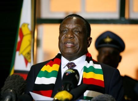 Zimbabwean President Emmerson Mnangagwa addresses the media after the death of former President Robert Mugabe at State House in Harare