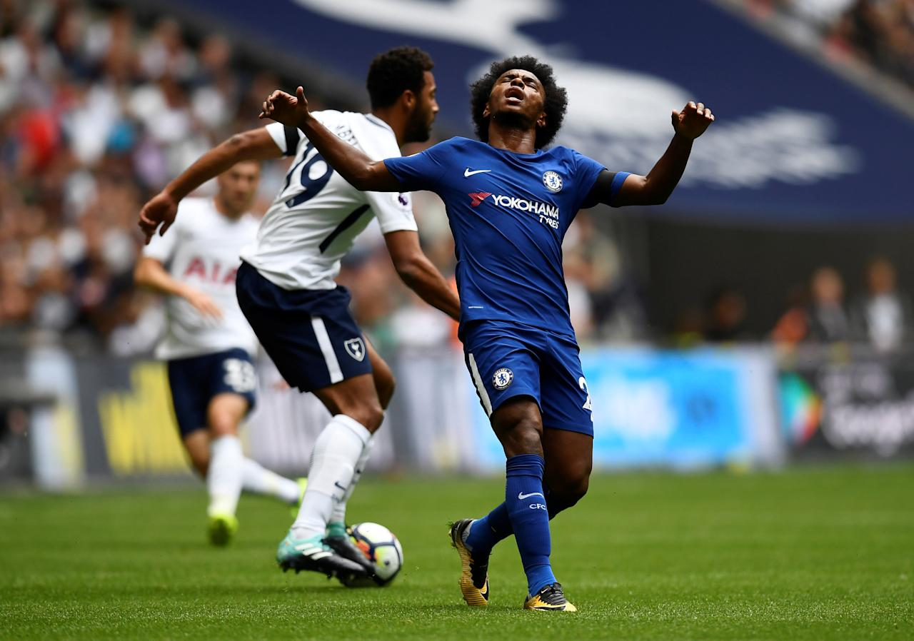 "Soccer Football - Premier League - Tottenham Hotspur vs Chelsea - London, Britain - August 20, 2017   Chelsea's Willian reacts   REUTERS/Dylan Martinez    EDITORIAL USE ONLY. No use with unauthorized audio, video, data, fixture lists, club/league logos or ""live"" services. Online in-match use limited to 45 images, no video emulation. No use in betting, games or single club/league/player publications. Please contact your account representative for further details."