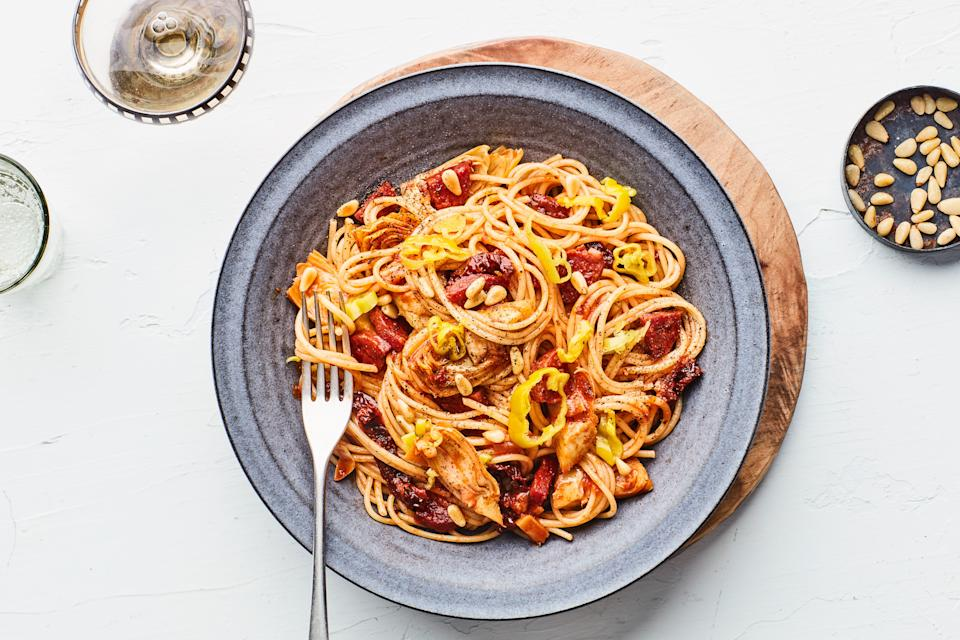"""<h1 class=""""title"""">Antipasto Pasta google express</h1> <div class=""""caption""""> <a href=""""https://www.epicurious.com/recipes/food/views/antipasto-pasta-with-sausage-artichoke-hearts-and-sun-dried-tomatoes?mbid=synd_yahoo_rss"""" rel=""""nofollow noopener"""" target=""""_blank"""" data-ylk=""""slk:This easy pantry pasta recipe has shelf-stable dry-cured sausage, marinated artichokes, pine nuts, sun-dried tomatoes, and pepperoncini."""" class=""""link rapid-noclick-resp"""">This easy pantry pasta recipe has shelf-stable dry-cured sausage, marinated artichokes, pine nuts, sun-dried tomatoes, and pepperoncini.</a> </div> <cite class=""""credit"""">Photo by Chelsea Kyle, Prop Styling by Beatrice Chastka, Food Styling by Olivia Mack Anderson</cite>"""