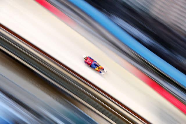 Romania's Valentin Cretu during his second practice run in the luge ahead of the PyeongChang 2018 Winter Olympic Games in South Korea. Austria's David Gleirscher won gold in the men's singles event (Mike Egerton/PA)