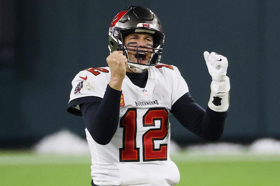 """<p><strong>Age at the Time of Super Bowl LV:</strong> 43 years old </p> <p>Brady, already the oldest quarterback to win a playoff game, becomes the oldest NFL player to head to the Super Bowl when the Tampa Bay Buccaneers star plays the Kansas City Chiefs <a href=""""https://people.com/sports/tom-brady-in-every-super-bowl/?"""" rel=""""nofollow noopener"""" target=""""_blank"""" data-ylk=""""slk:in his 10th appearance at the big game"""" class=""""link rapid-noclick-resp"""">in his 10th appearance at the big game</a>.</p>"""