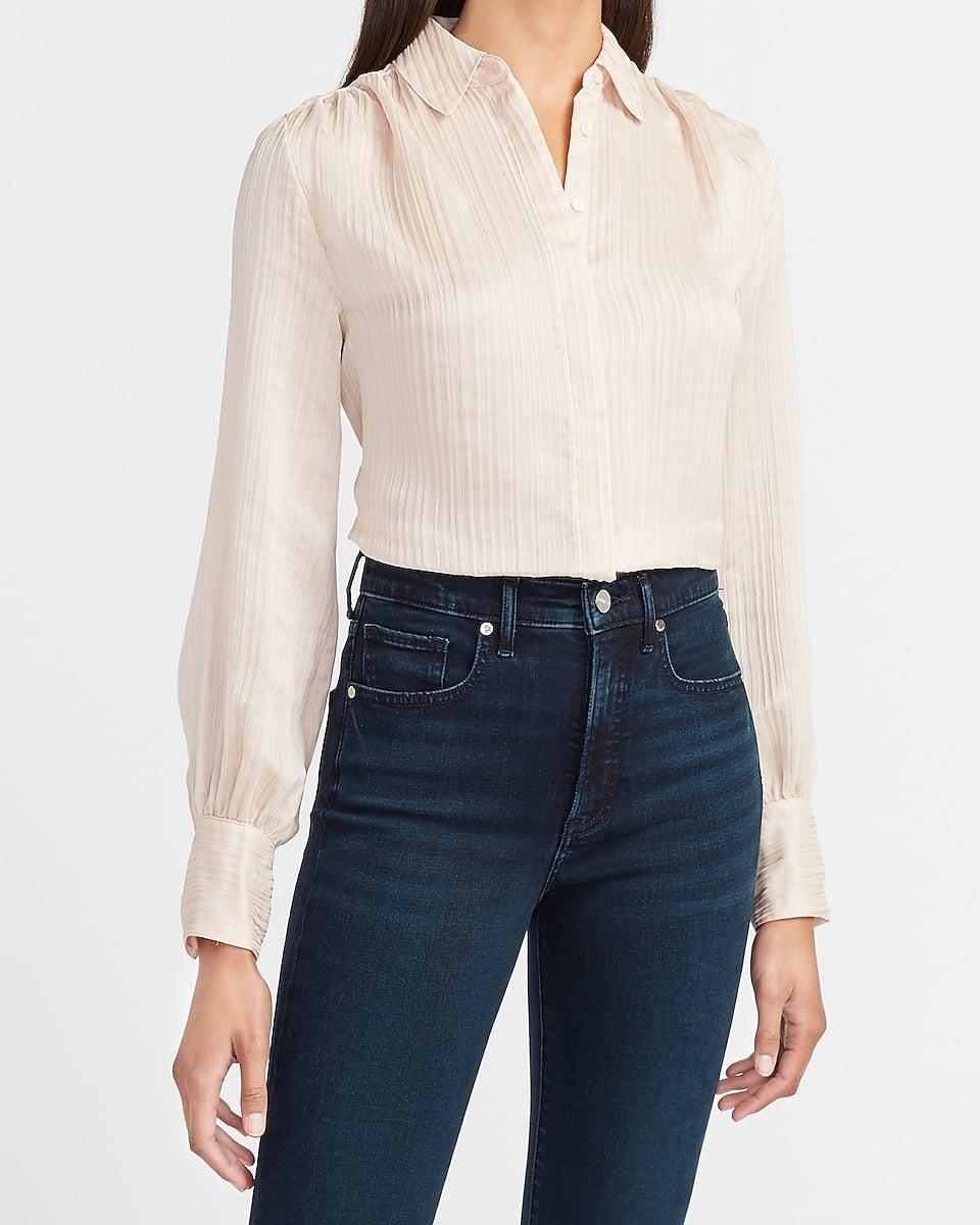 <p>The perfect <span>Pleated Balloon Sleeve Shirt</span> ($35, originally $50) for a business meeting or happy hour.</p>