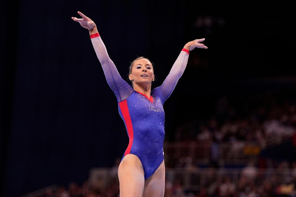 MyKayla Skinner competes on the floor during the U.S. Olympic Team Trials.