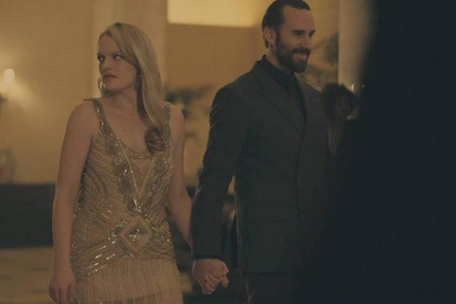 Offred and Fred (Joseph Fiennes) in Jezebel's (Credit: George Kraychyk/Hulu)