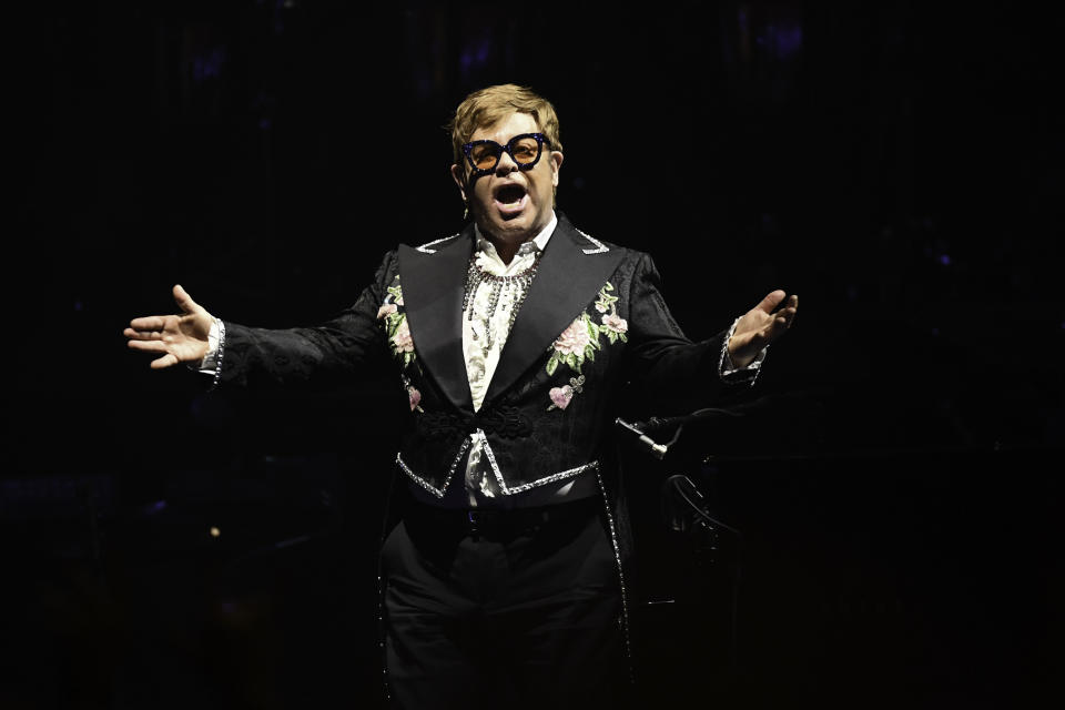 SUNRISE, FL- MARCH 25: (File) Elton John turns 74 years old today. Photo taken at his concert on March 16, 2019 at the BB&T Center in Sunrise, Florida. (Photo by Ron Elkman/USA TODAY NETWORK/Sipa USA)