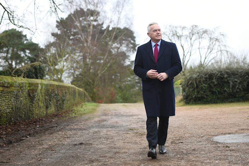 Presenter and newsreader Huw Edwards arrives for his guest appearance at Sandringham Women's Institute (WI) meeting at West Newton Village Hall, Norfolk, which is also due to be attended by Queen Elizabeth II. (Photo by Joe Giddens/PA Images via Getty Images)