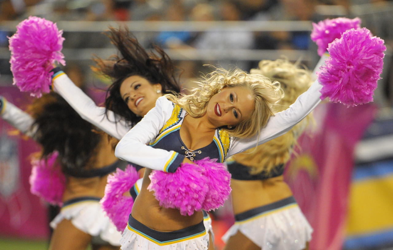 The San Diego Chargers cheerleaders perform as the Chargers play the Indianapolis Colts during the first half of an NFL football game Monday, Oct. 14, 2013, in San Diego. (AP Photo/Denis Poroy)