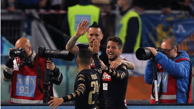 Napoli gained ground on Roma in the race for second-place in Serie A with a comprehensive 3-0 victory over in-form Udinese.