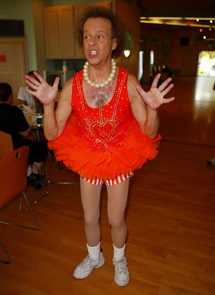 "We're used to Richard Simmons' outlandish getups, but his pearl choker and tutu are just a little <i>too</i> much. Karl Larsen/<a href=""http://www.infdaily.com"" target=""new"">INFDaily.com</a> - September 6, 2011"