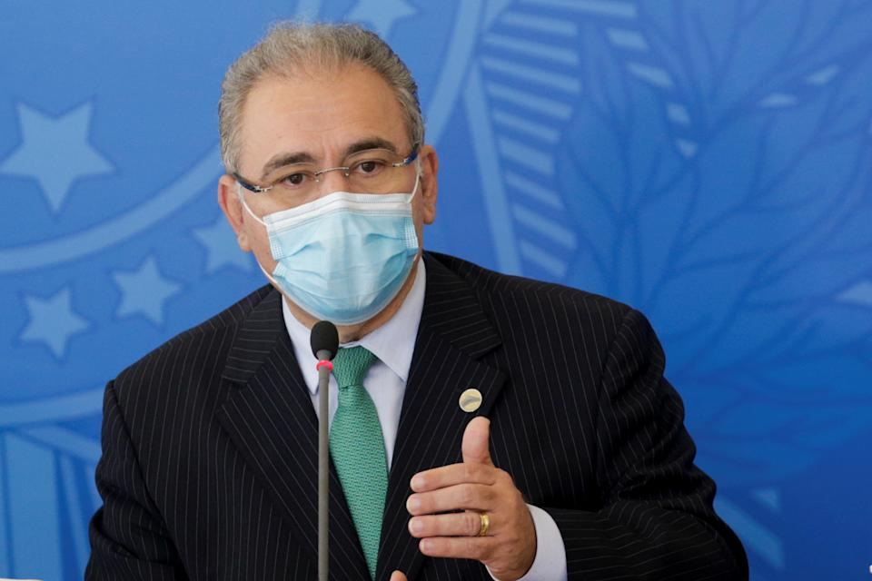 Brazil's Minister of Health Marcelo Queiroga speaks during a news conference after the meeting of the National COVID-19 Coordinator to combat the pandemics, in Brasilia, Brazil, April 14, 2021. REUTERS/Adriano Machado