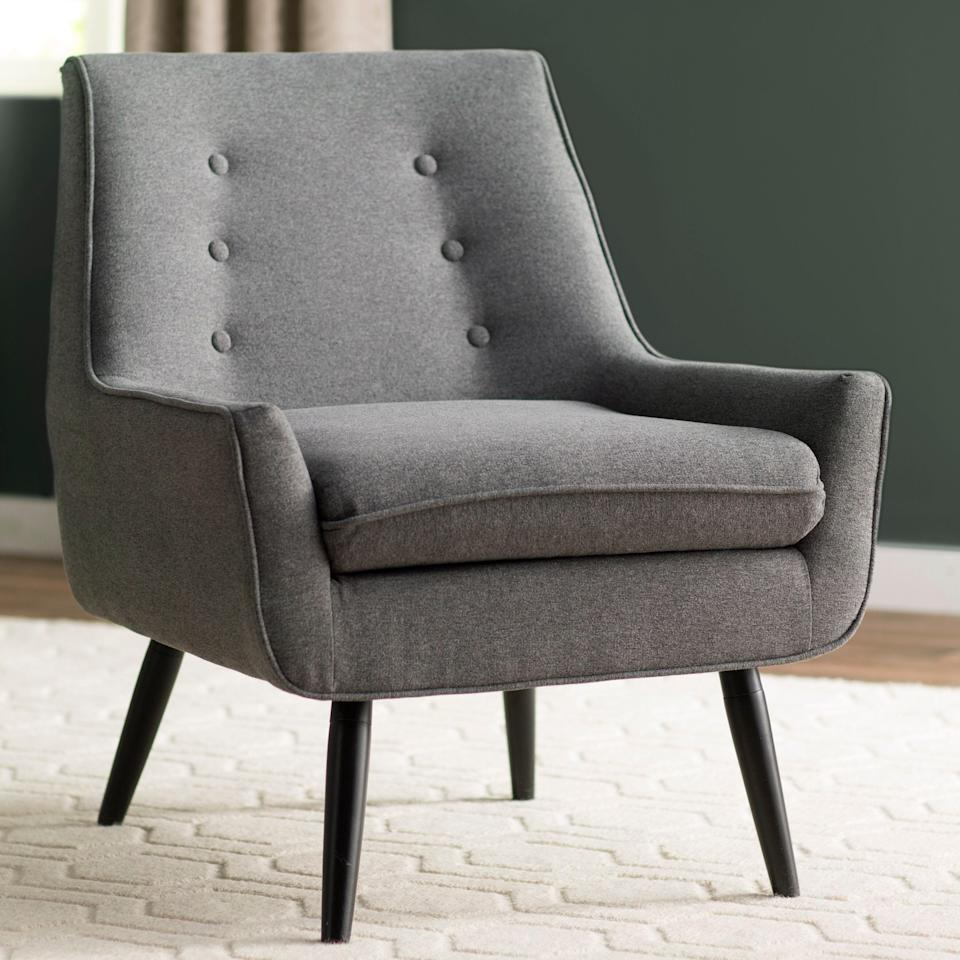 "<br><br><strong>Langley Street</strong> Eytel Tufted Armchair, $, available at <a href=""https://go.skimresources.com/?id=30283X879131&url=https%3A%2F%2Fwww.wayfair.com%2Ffurniture%2Fpdp%2Fkelly-clarkson-home-lourdes-velvet-task-chair-w003317863.html"" rel=""nofollow noopener"" target=""_blank"" data-ylk=""slk:Wayfair"" class=""link rapid-noclick-resp"">Wayfair</a>"