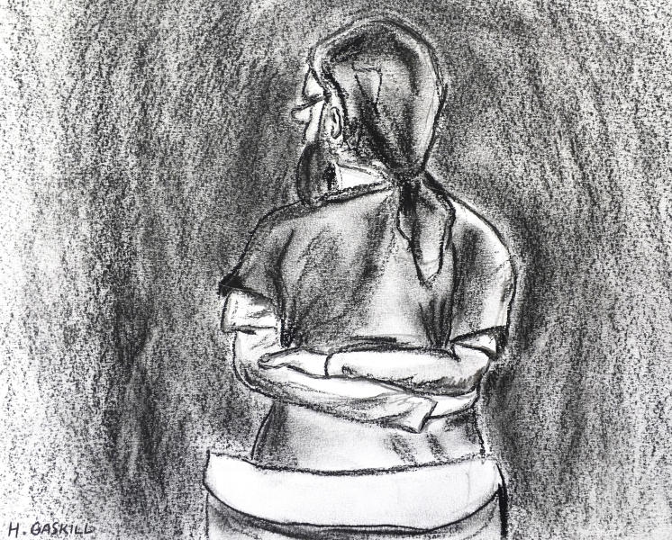 In this artist court sketch, Jarrod Ramos stands and pleads guilty in Anne Arundel Circuit Court on Monday, Oct. 28, 2019, in Annapolis, Md., in the slayings of five staffers at an Annapolis newspaper, and a jury is expected to hear testimony within weeks about whether he was not responsible by reason of insanity. (Hannah Gaskill/Capital News Service, University of Maryland, via AP)