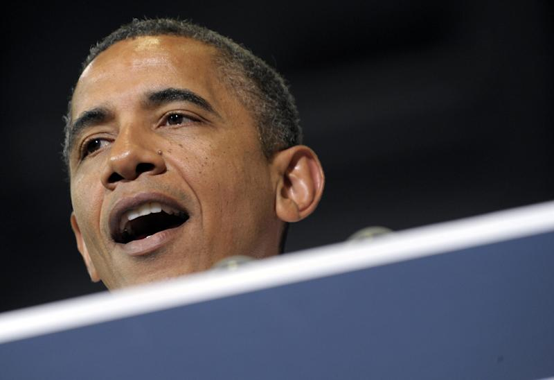 FILE - In this July 10, 2012 file photo, President Barack Obama speaks in Cedar Rapids, Iowa. President Barack Obama and Republican rival Mitt Romney's campaigns traded accusations of lying Thursday, ratcheting up an already heated race for the White House.  (AP Photo/Susan Walsh, File)
