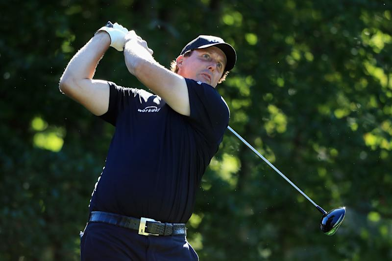 Phil Mickelson plays his shot from the fourth tee during round two of the Dell Technologies Championship at TPC Boston
