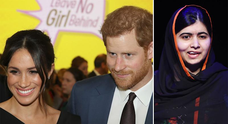 Meghan and Harry have chatted to Malala ahead of International Day of the Girl. (PA)