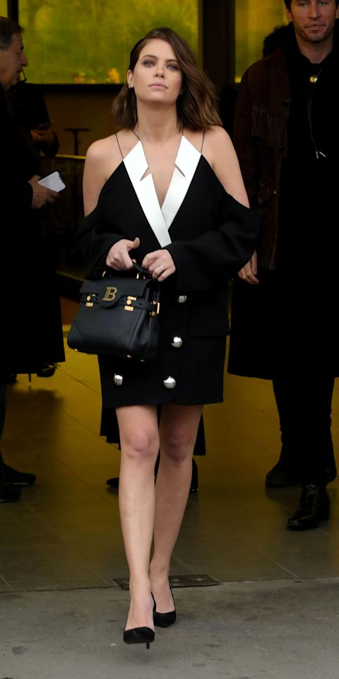 """<p>Personally, we're still recovering from Ashley Benson and Cara Delevingne's <a href=""""https://www.instagram.com/p/B8_jJ0qgd9E/"""">Milan Fashion Week looks</a> but Benson has taken no time in slaying us yet again with her outfit for the Balmain show in Paris. Benson wore a Balmain cold shoulder jacket (<strong>Shop similar:</strong> $2,595; <a href=""""https://click.linksynergy.com/deeplink?id=93xLBvPhAeE&mid=37385&murl=https%3A%2F%2Fwww.modaoperandi.com%2Fbalmain-ss20%2Fdouble-breasted-crepe-blazer&u1=IS%2CAshleyBenson%2Canesta%2C%2CIMA%2C3527438%2C202003%2CI"""" target=""""_blank"""">modaoperandi.com</a>) that makes us want to cut holes in our blazers with a Balenciaga tote bag (<strong>Shop now: </strong>$1,755; <a href=""""https://click.linksynergy.com/deeplink?id=93xLBvPhAeE&mid=37508&murl=https%3A%2F%2Fwww.farfetch.com%2Fshopping%2Fwomen%2Fbalmain-b-buzz-23-tote-bag-item-14637403.aspx%3F&u1=IS%2CAshleyBenson%2Canesta%2C%2CIMA%2C3527438%2C202003%2CI"""" target=""""_blank"""">farfetch.com</a>) and Balmain phoebe pumps (<strong>Shop similar:</strong> $850; <a href=""""https://click.linksynergy.com/deeplink?id=93xLBvPhAeE&mid=1237&murl=https%3A%2F%2Fshop.nordstrom.com%2Fs%2Fbalmain-paloma-crystal-embellished-pointed-toe-pump-women%2F5441702%2Ffull%3F&u1=IS%2CAshleyBenson%2Canesta%2C%2CIMA%2C3527438%2C202003%2CI"""" target=""""_blank"""">nordstrom.com</a>).</p>"""