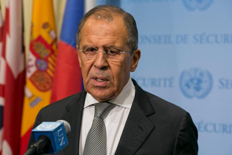 Russia Foreign Minister Sergey Lavrov speaks to the media after a meeting concerning Syria with US Secretary of State John Kerry at the United Nations headquarters in New York on September 30, 2015 (AFP Photo/Dominick Reuter)