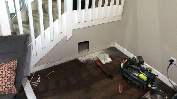 dog bedroom. PHOTO  David Maceo of Tampa Fla built a tiny bedroom for his Florida man builds dog under the stairs