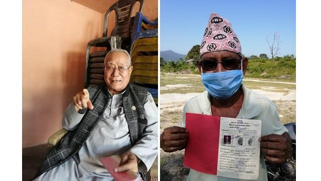 (L) Ganesh Kumar Limbu owns 6.5 bighas (around 4.4 hectares) of land. (R) Prahlad Thapa with the document proving his ownership of land.
