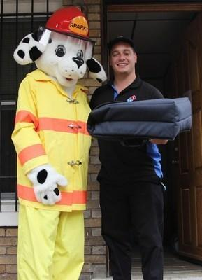 Customers who order from participating Domino's stores throughout the U.S. during Fire Prevention Week may be surprised when their delivery arrives aboard a fire engine. If the smoke alarms in the home are working, the pizza is free. If the smoke alarms are not working, the firefighters will replace the batteries or install fully-functioning alarms.