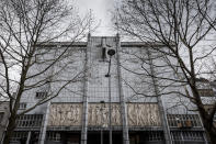The main facade of the school Athenee Leonie de Waha is seen in Liege, Belgium, Tuesday, Jan. 12, 2021. Fed up with the COVID-19 restrictions keeping them at home most of the time, students in the last two years of high school in the city of Liege launched an online petition asking for more in-person class time. The students' efforts paid off Tuesday following an online meeting with Mayor Willy Demeyer and education officials in the city. The officials pledged to revisit the current COVID-19 protocol in a bid to get the 16 to 18-year-olds in-person instruction at least half-time starting Monday. (AP Photo/Valentin Bianchi)